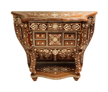 chest of drawers: Antique Arabic style dresser isolated with clipping path included