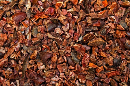 unprocessed: Bunch of raw organic crushed cocoa nibs  Stock Photo