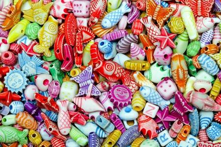 bijoux: Multi colour plastic beads elements variety assortment