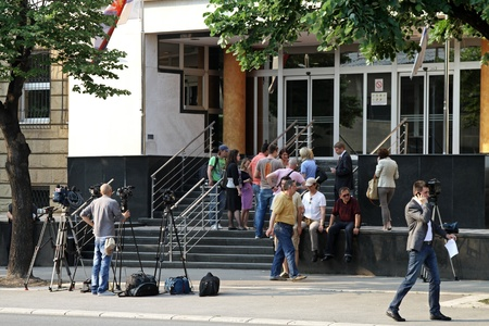 tribunal: BELGRADE, SERBIA - MAY 26: Courthouse for war crimes with arrested Ratko Mladic at MAY 26, 2011. News crew waiting for press conference in front of tribunal building in Belgrade, Serbia.  Editorial