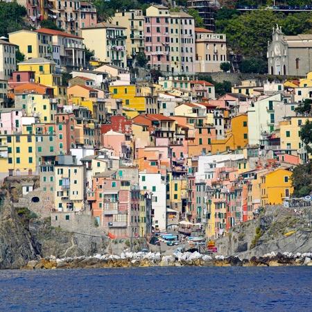 colorful town of riomaggiore cinque terre liguria coast at photo