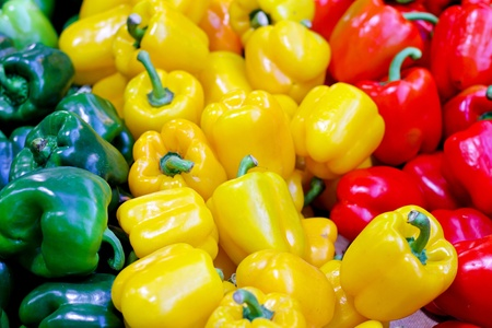 bell peppers: Bunch of bell peppers at farmers market  Stock Photo