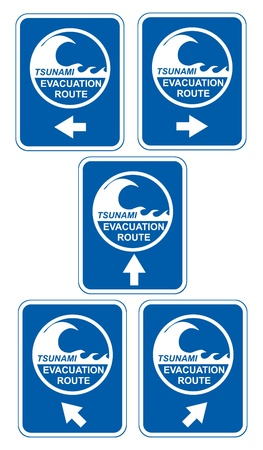 Tsunami warning signs showing evacuation route directions Stock Vector - 9929898