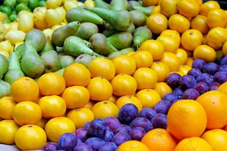 organically: Big assortment of fresh organically grown fruits  Stock Photo