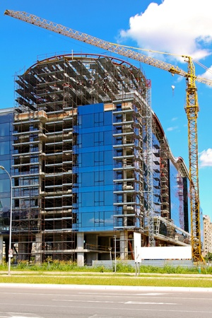 commercial construction: Commercial building with blue windows under construction