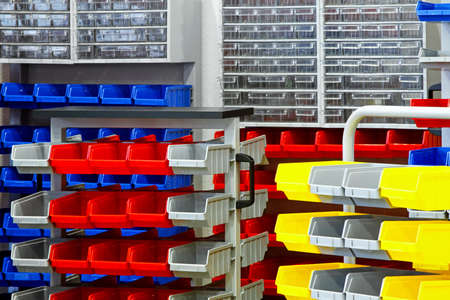 storage bin: Colorful shelves and racks for warehouse storage