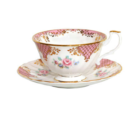 teacup: Traditional porcelain teacup isolated  Stock Photo