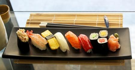nigiri: Sushi plate selection traditional Japanese sea food