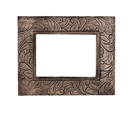 Vintage wooden frame isolated  photo