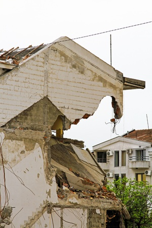 earthquakes: Damaged house after strong earthquake natural disaster