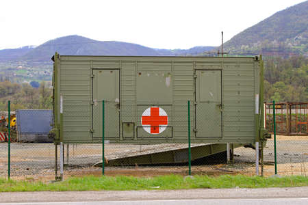 temporary: A field hospital in the temporary container medical emergency unit