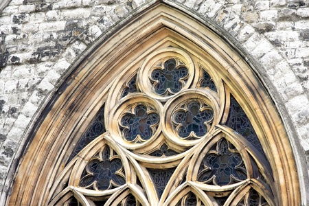 protestant: Old window on ancient Christian Protestant church Stock Photo