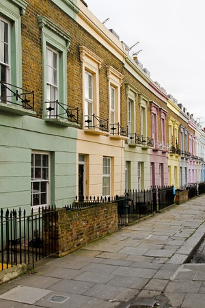 row of houses: Colourful houses in row at Camden Town London