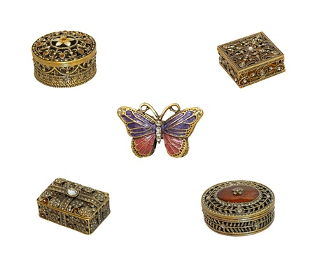 jeweled: Assortment of jeweled boxes isolated with included Stock Photo