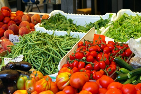 Fresh vegetables at stall in farmers market Stock Photo - 10259770