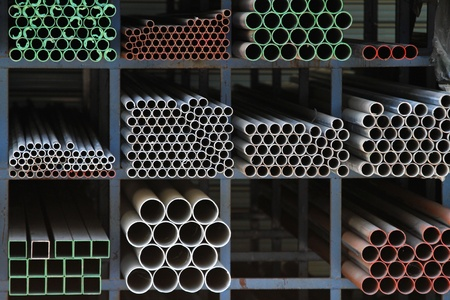 ductile: Ductile iron pipes at shelf in warehouse