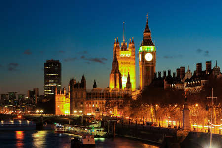 Big Ben clock Tower in color at night Stock Photo - 10261404