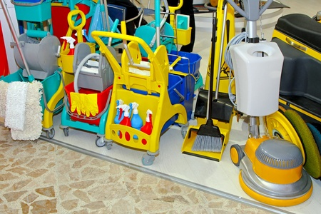 cleaning equipment: Proffessional cleaning tools buckets brums and mops