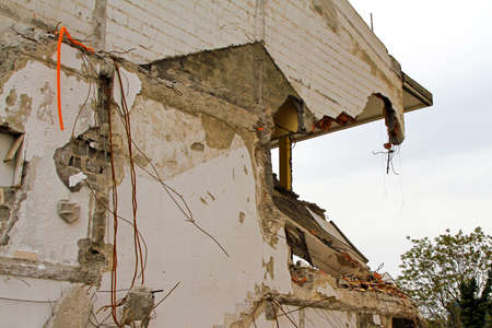 quake: Damaged house after strong earthquake natural disaster