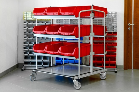 storage bin: Shelves for inventory in garage and workshop