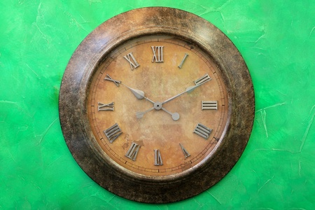 analogue: Vintage style analogue clock with roman numbers Stock Photo