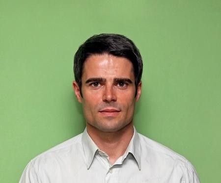 Portrait of handsome atractive man with dark hair photo