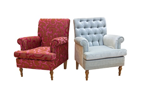 armchair: Pair of retro armchairs. Stock Photo