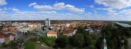 east germany: Aerial cityscape of east Hannover in Germany Stock Photo