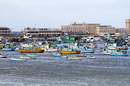 alexandria egypt: ALEXANDRIA, EGYPT - FEBRUARY 28: Alexandria harbour on FEBRUARY 28, 2010. Fisherman boats and harbour in Alexandria, Egypt.