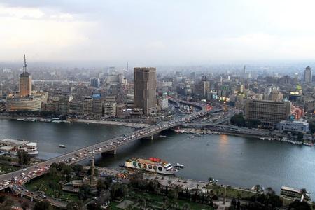 nile: CAIRO, EGYPT - FEBRUAR 25: 6 October bridge in Cairo on FEBRUAR 25, 2010.  6 October bridge over river Nile in Cairo, Egypt.