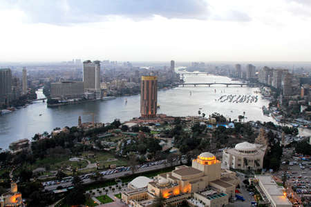 nile river: CAIRO, EGYPT - FEBRUAR 25: Opera house in Cairo on FEBRUAR 25, 2010.  Aerial view of Opera house at Gezira island in Cairo, Egypt  Editorial
