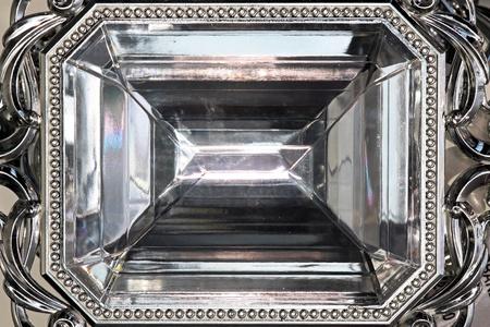 Big diamond gem rectangular crystal close up photo