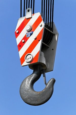 ton: Construction crane hook for heavy weight lifting Stock Photo