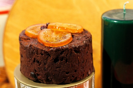 Traditional chocolate Christmas cake with orange pieces Stock Photo - 10981142