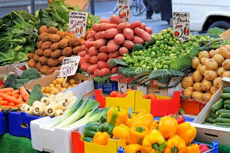 stalls: Fresh organic vegetable on street market stall Stock Photo