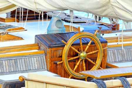 wheelhouse: Old sail ship bridge with wooden wheel