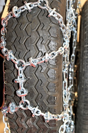 Snow chain attached to tyre for winter photo