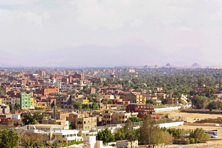 Giza residential neighbourhood from plateau at sunny day photo