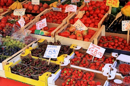 Big farmers market stall filled with organic fruits Stock Photo - 11733713