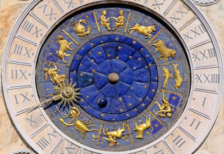 zodiac constellations: Zodiac clock at San Marco square in Venice Stock Photo