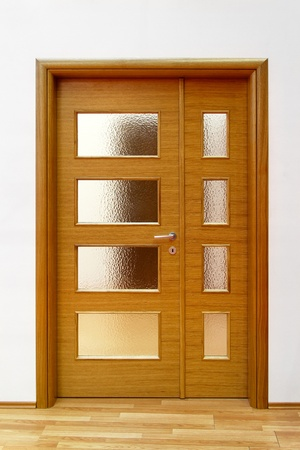 Double glass house door with wooden frame