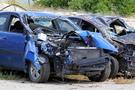 car wreck: Multiple vehicle collision in high speed traffic accident Stock Photo