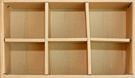 compartment: Open recycled cardboard box with compartment separators