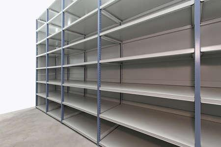 depository: Long empty metal shelf in storage room Stock Photo
