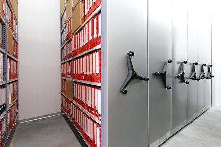 Company documents in ring binders at storehouse racks Stock Photo - 11889135