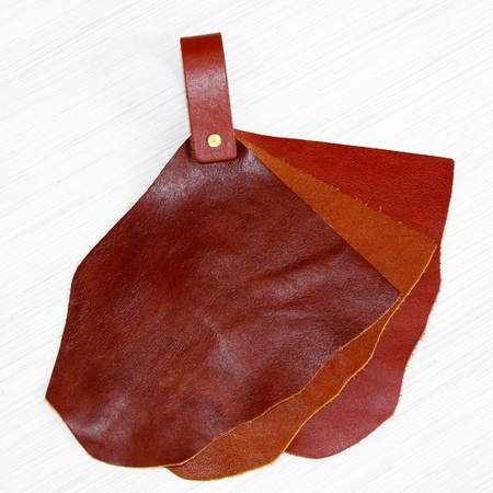 Genuine natural leather sampler for fashion industry photo