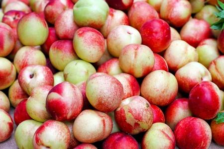 organically: Big pile of fresh organically grown nectarines Stock Photo