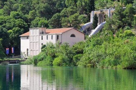hydro: Oldest hydro power plant in Europe Jaruga Krka Stock Photo