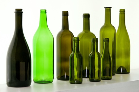beverage display: Glass bottles for wine selection at display