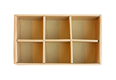 compartments: Open recycled cardboard box with compartment separators